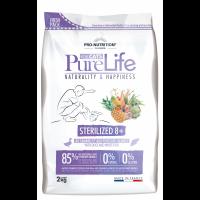 Pro nutrition Pure Life STERILIZED 8+  Begrūdis maistas suaugusioms sterilizuotom ir į nutukimą linkusiom katėm virš 8 m.  su antiena ir baltąja žuvimi 2kg