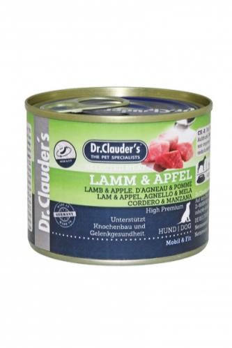DR. CLAUDER'S subalansuotas drėgnas maistas šunims su ėriena ir obuoliais kaulams ir sąnariams 200g