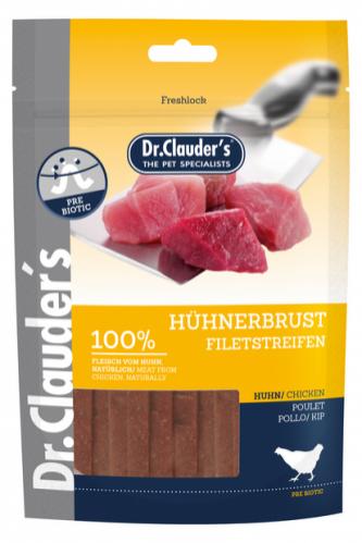DR. CLAUDER'S vytintos vištienos krūtinėlės skanėstas juostelėmis šunims