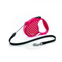 Automatinis pavadėlis Flexi Dots, rožinės spalvos, S dydis, 5m. Šunims iki 12 kg