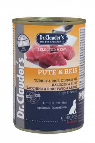 DR. CLAUDER'S drėgnas maistas šunims su kalakutiena, ryžiais ir prebiotikais 400g