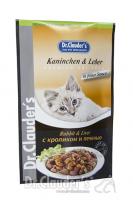 DR. CLAUDER'S drėgnas maistas katėms su triušiena ir kepenimis padaže