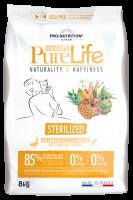 Pro nutrition Pure Life STERILIZED Begrūdis maistas suaugusioms sterilizuotom ir į nutukimą linkusiom katėm su antiena ir sardinių mėsa 8kg